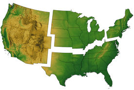 foto of usa map  - USA Map divided into Regions and showing terrain - JPG