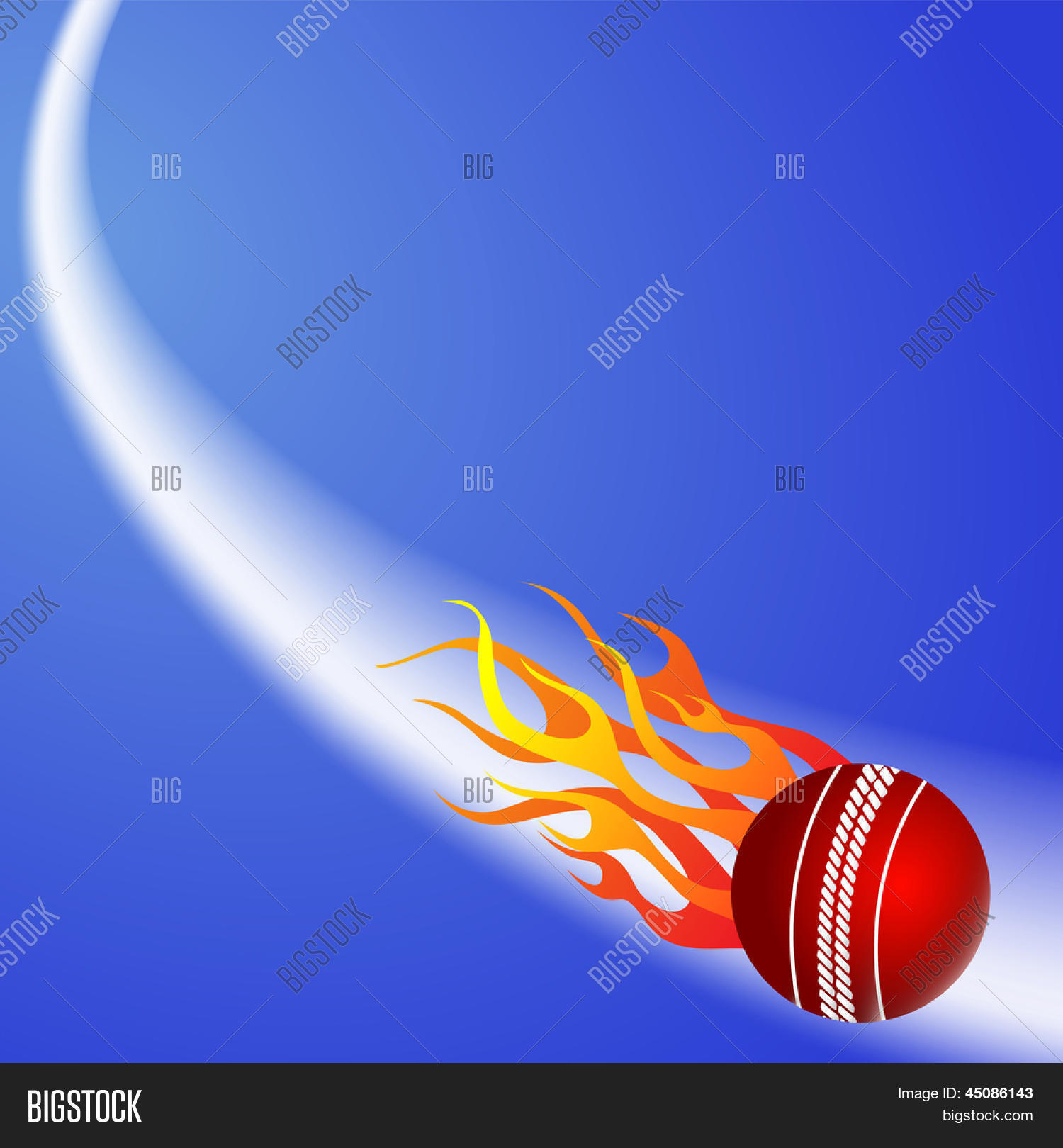 Cricket Ball Fire On Blue Vector & Photo