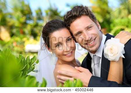 Portrait of cheerful couple getting married