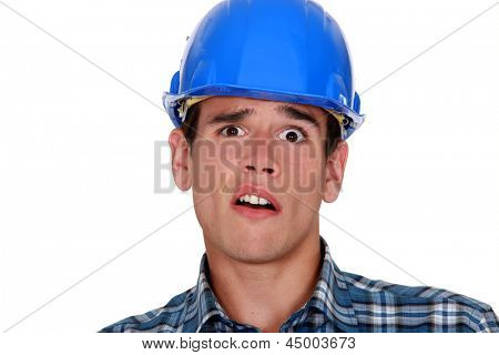 A horrified tradesman
