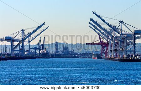 Seattle Washington Port With Red White Cranes And Freighters Ships