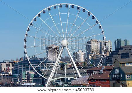 Ferris Wheel Buildings Waterfront Seattle Washington