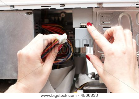 Woman Hands Assemble Computer Cable Into System Unit