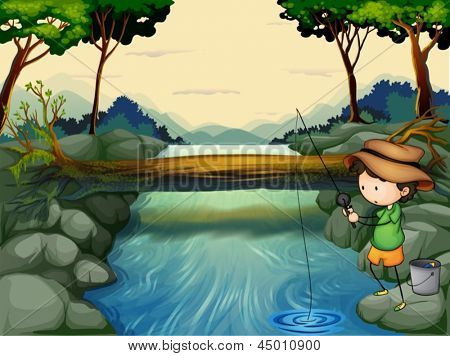 Illustration of a boy fishing at the river
