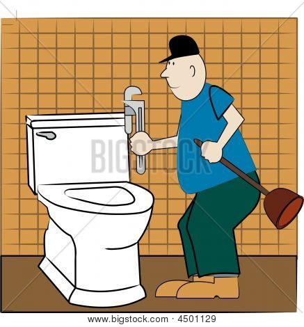 Man Plumber At Toilet.
