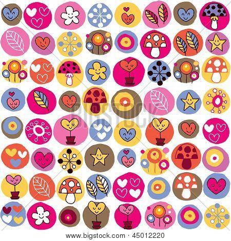 hearts, mushrooms & flowers pattern