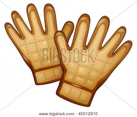Ilustración de un par de guantes de cuero sobre un fondo blanco