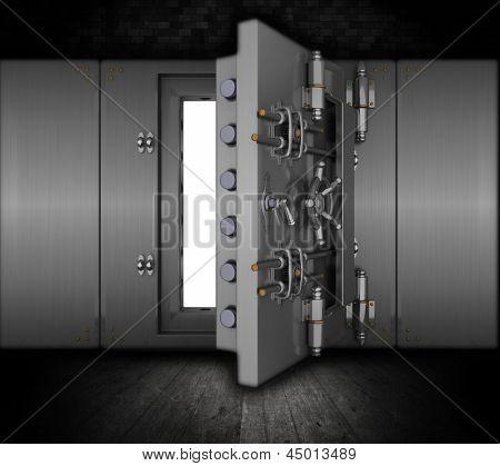 Ilustración de una bóveda del Banco en el interior de un grunge
