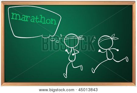 Illustration of a blackboard with a drawing of two boys having a marathon on a white background