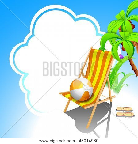 Evening summer with beach chair on cloud background.