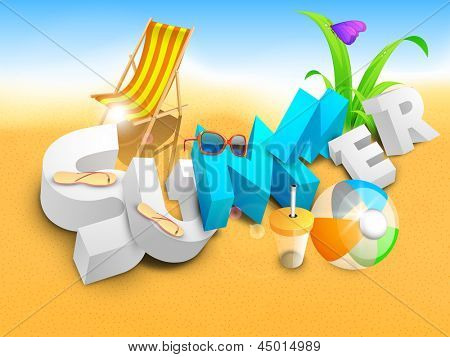 3d summer on beach, banner, flyer or poster for summer holidays.