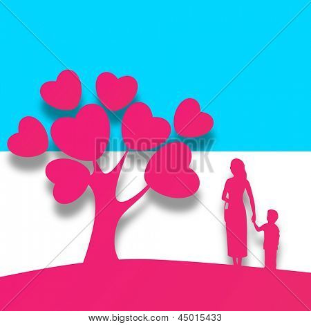 Happy Mothers Day background with pink silhouette a mother holding her child hand standing in front of love tree with heart leaves.