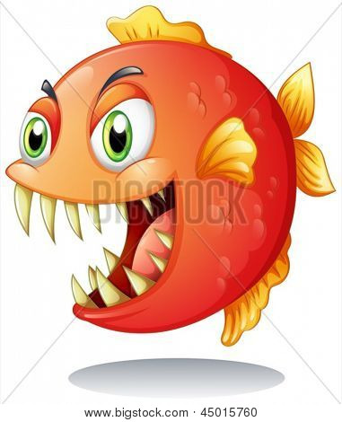Illustration of an orange piranha on a white background