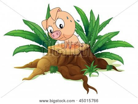 Illustration of a pig exercising above a tree on a white background