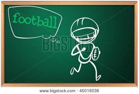 Illustration of a blackboard with a drawing of a boy playing football on a white baclground