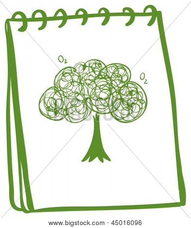 Illustration of a green notebook with a drawing of a tree on a white background