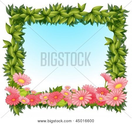 Illustration of a framed leaves with pink flowers on a white backround