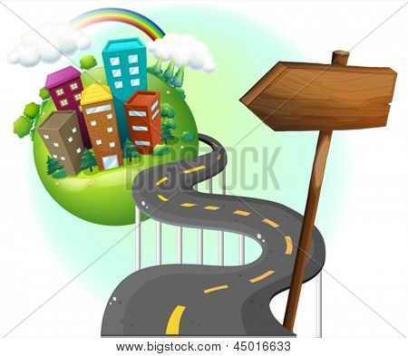 Illustrtaion of a road going to the city with an arrowboard on a white background
