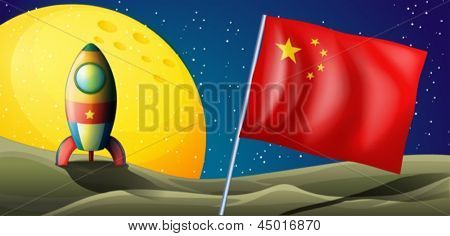 Illustration of a spaceship with the flag of China in the outerspace