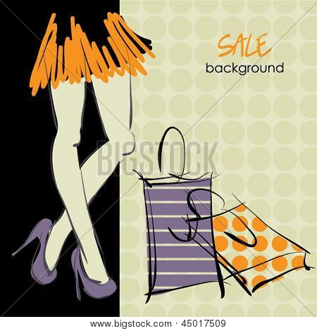 art sketching sale background with beautiful feet young woman in short skirt and space for text