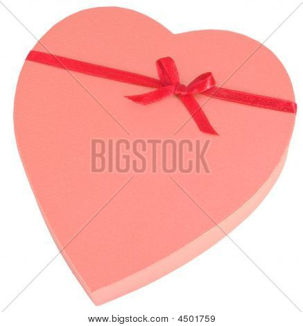Heart Shaped Golden Chocolate Box With Ribbon Isolated