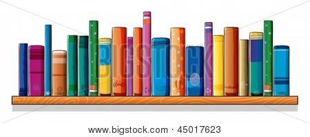 Illustration of a set of different books on a white background