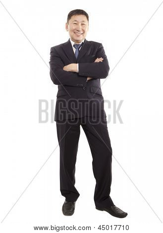 Full body portrait of happy asian business man. Isolated on white background