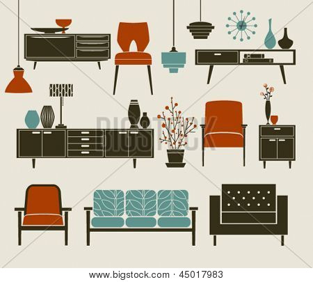 Retro Furniture and Home Accessories, including coffee table, side tables, armchairs and chandeliers