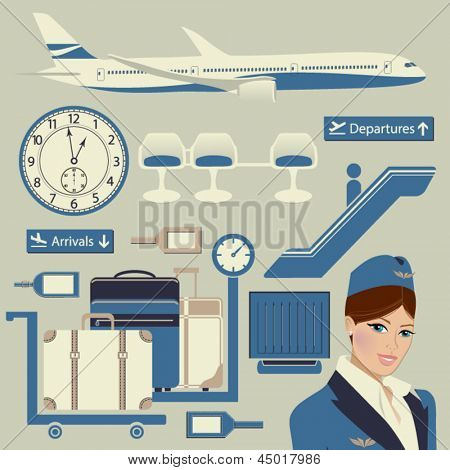 Airport Themed Set, with commercial airplane, luggage, flight attendant and other airport objects