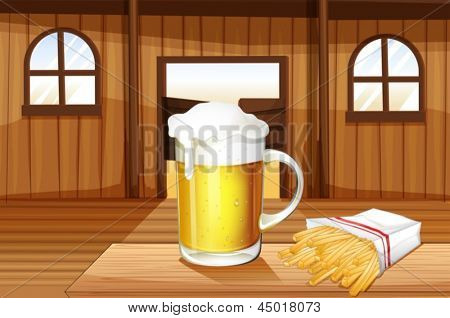 Illustration of a mug of cold beer and french fries at the saloon bar