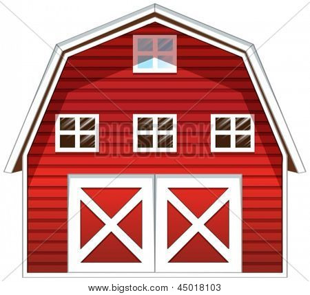 Illustration of a red barn house on a white background