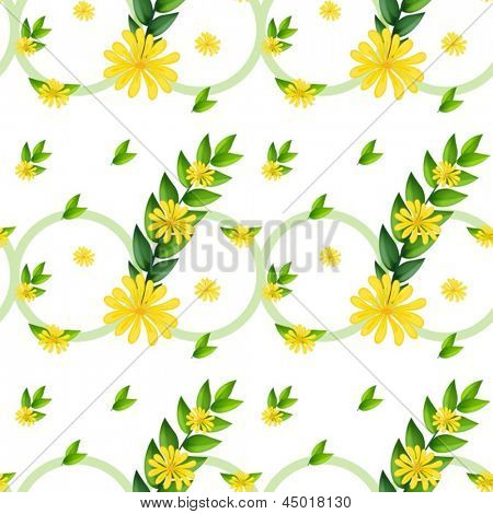 Illustration of a template with yellow flowers on a white background
