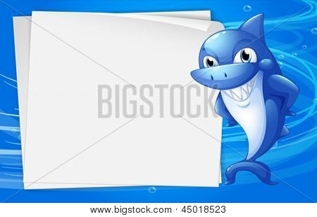 Illustration of a blue shark beside an empty paper under the water