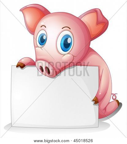 Illustration of a pig holding an empty signage on a white background