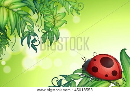 Illustration of a bug above the green leaves