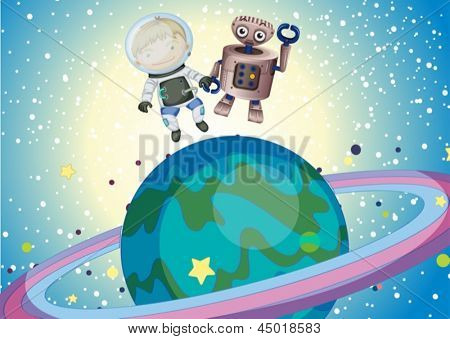 Ilustración de un niño y un robbot en el espacio ultraterrestre