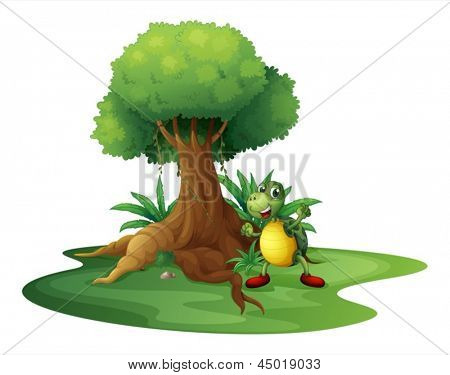 Illustration of a turtle standing under the big tree on a white background