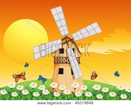 Illustration of a wooden windmill at the garden