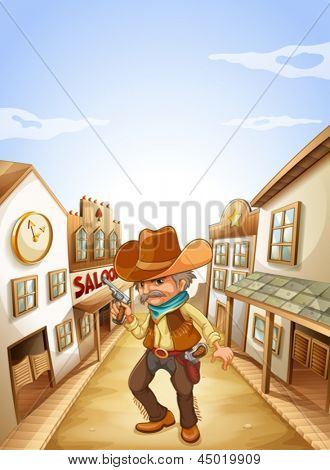 Illustration of an old man holding a gun near the saloon