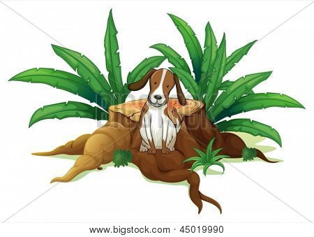 Illustration of a dog sitting at the root of a chopped tree on a white background