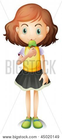 Illustration of a young girl eating an ice cream on a white background