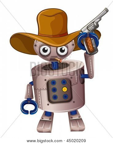Illustration of a toy robot holding a gun on a white background