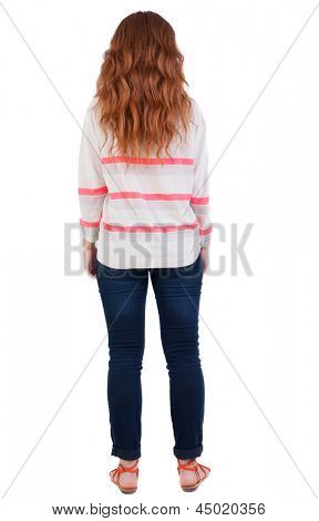 back view standing young beautiful  woman. Rear view people collection. backside view person. Isolated over white background. Red-haired teen girl with long curly hair standing with her back to camera