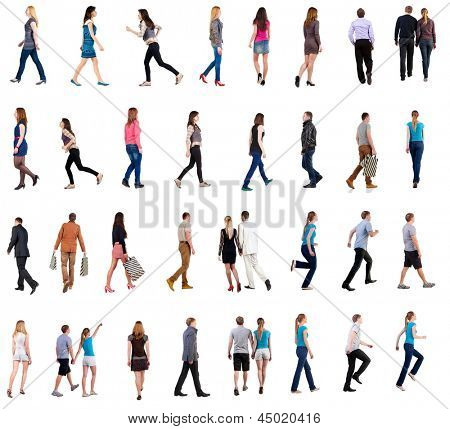 collection back view walking people. going people in motion set. backside view person. Rear view people collection. Isolated over white. people different genders and in different clothes move