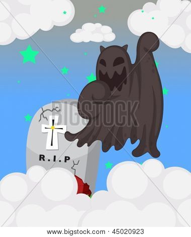 Ilustración de un fantasma en el cementerio