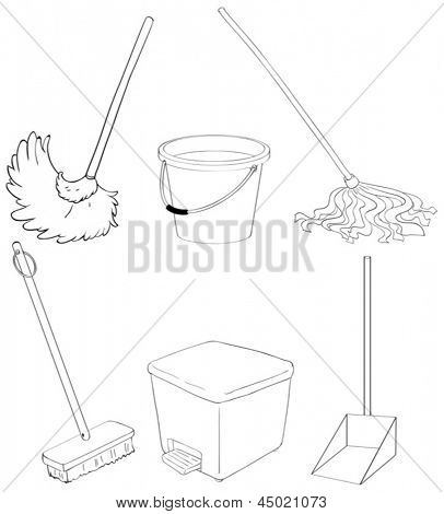 Illustration of the silhouettes of the different cleaning materials