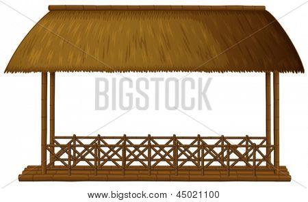 Ilustración de una cabaña de madera flotante sobre un fondo blanco
