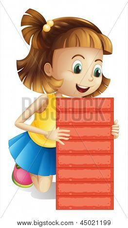 Illustration of a girl holding an empty red board on a white background