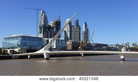 BUENOS AIRES ARGENTINA APRIL 12: Puente de la Mujer is a rotating footbridge for Dock 3 of the Puerto Madero commercial district of Buenos Aires, Argentina. On April 12 2013 Buenos Aires Argentina