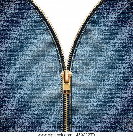 Denim texture with open zipper - eps10